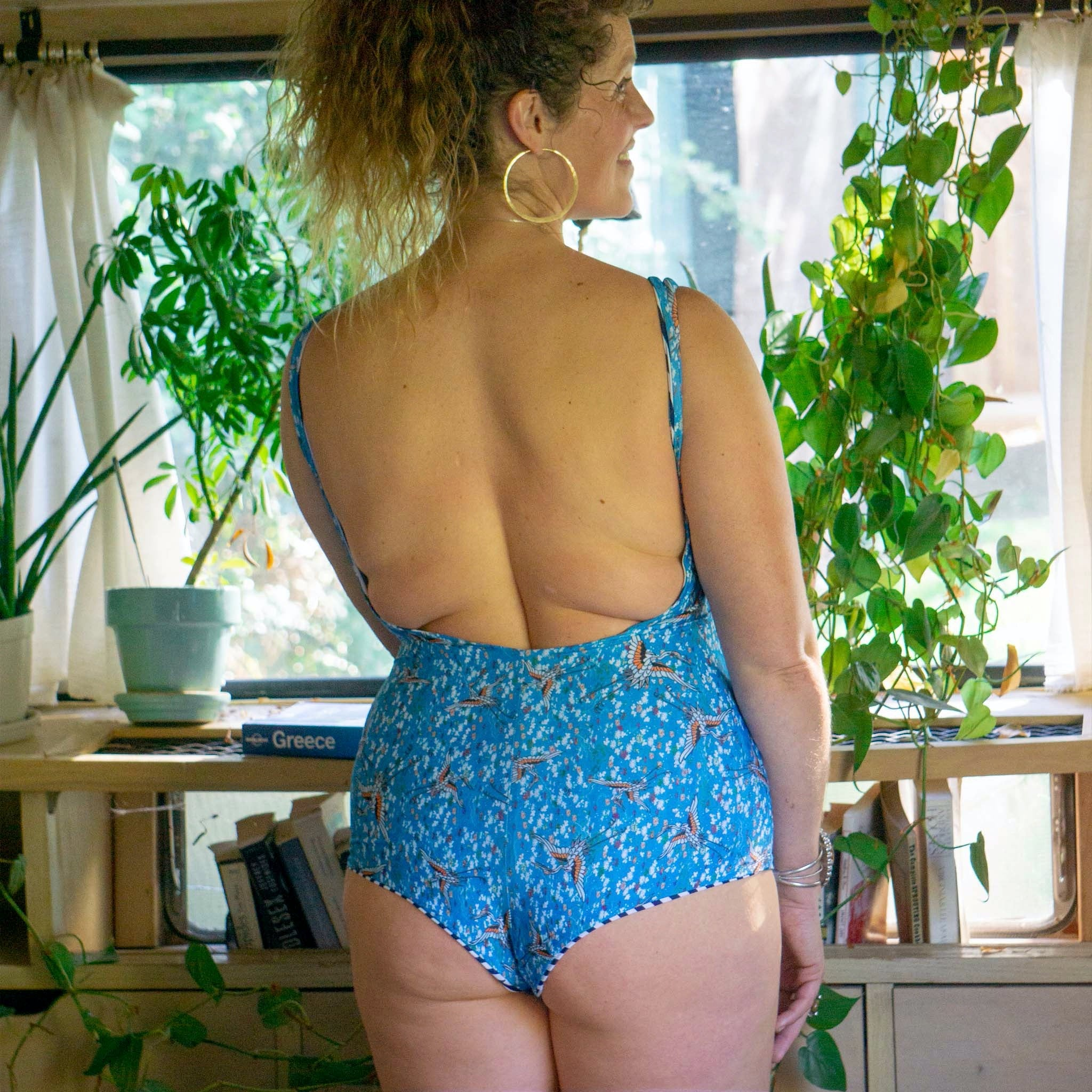 Nola Low Back One-Piece || Blue Cranes