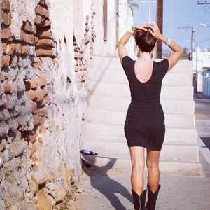 V Cotton Slip Dress || Black