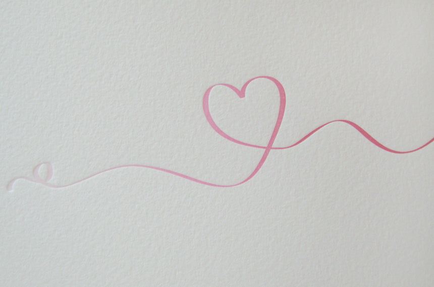 Letterpress Ombre Heart Ribbon Valentine's Day Card