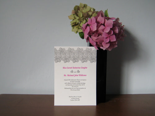 Cerulean Press Letterpress Lace Wedding Invitation