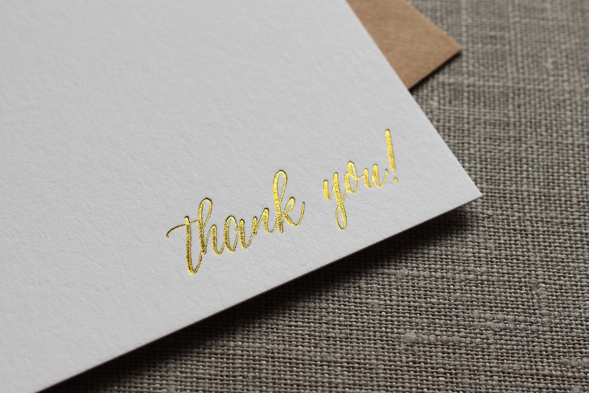 Gold Foil Thank You Cards - Asterism Calligraphy Script
