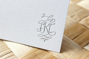 Barocca Calligraphy Monogram Note Cards - Full Monogram