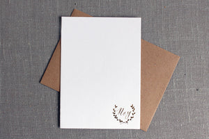 Gold Foil Laurel Monogram Stationery