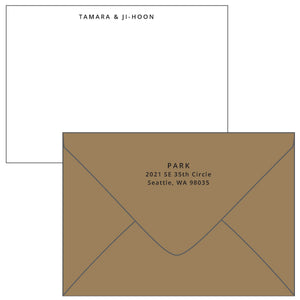 Letterpress sans serif personalized stationery by Cerulean Press