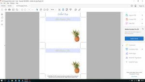 Printable Personalized Stationery - Watercolor Pineapple
