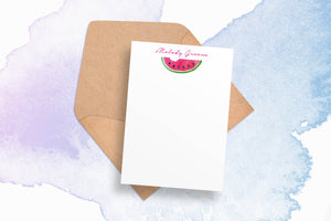 Printable Personalized Stationery - Watercolor Watermelon