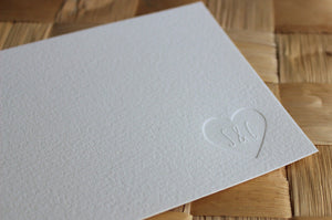 Letterpress Couple's Stationery - Heart Initials