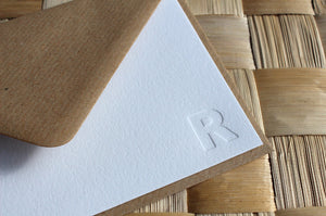 Letterpress Monogram Stationery - Gill Sans