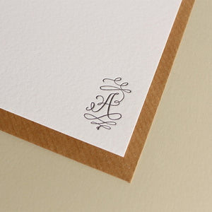 Barocca Calligraphy Monogram Stationery