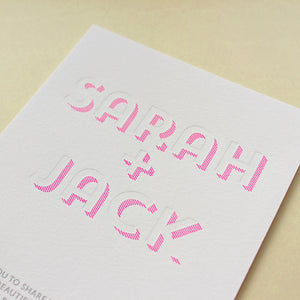 Neon Shadow Letterpress Wedding Invitations