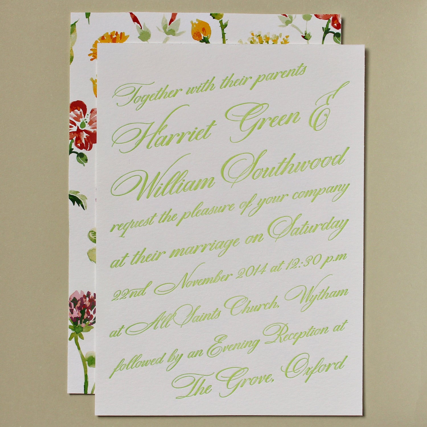 Letterpress Wedding Invitations with Watercolor flowers - Sample ...
