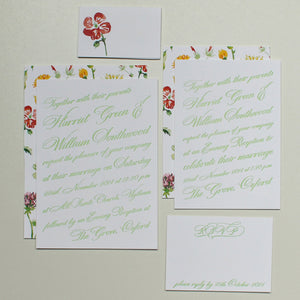 Letterpress Wedding Invitations with Watercolor flowers - Sample