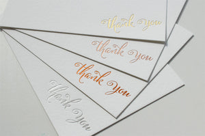 Gold Foil Thank You Cards - Brush Script
