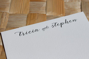 Letterpress calligraphy couple's stationery by Cerulean Press