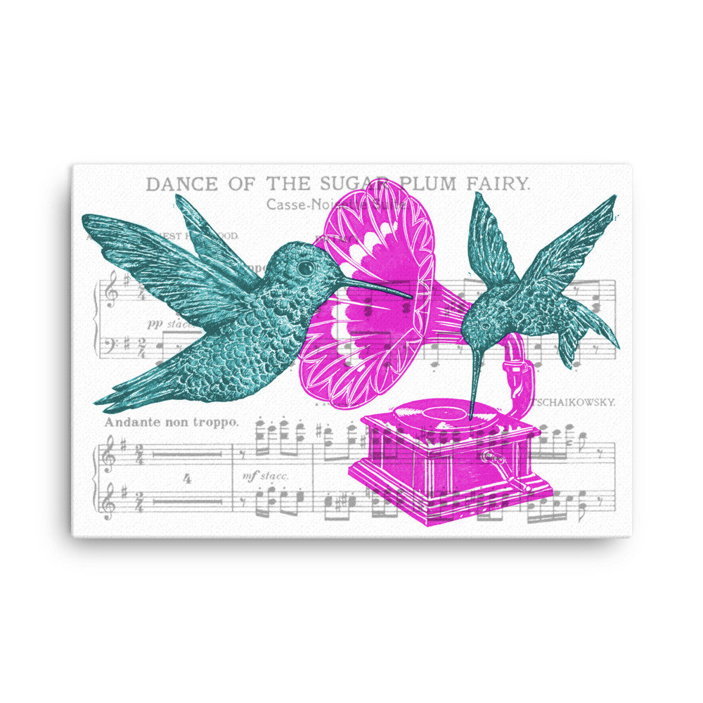 DJ CherishTheLuv Hummingbirds Phonograph Records on Canvas