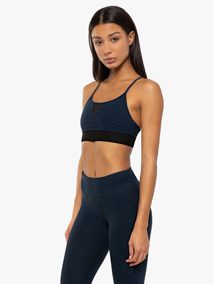 Trifecta Pine Jacquard Bra - Midnight Blue