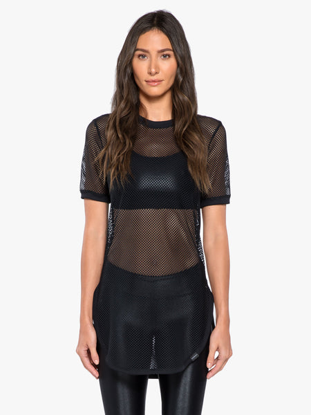 Hustle Open Mesh Top - Black