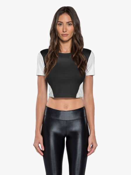 Time Out Crop Top - Black/Nude/White