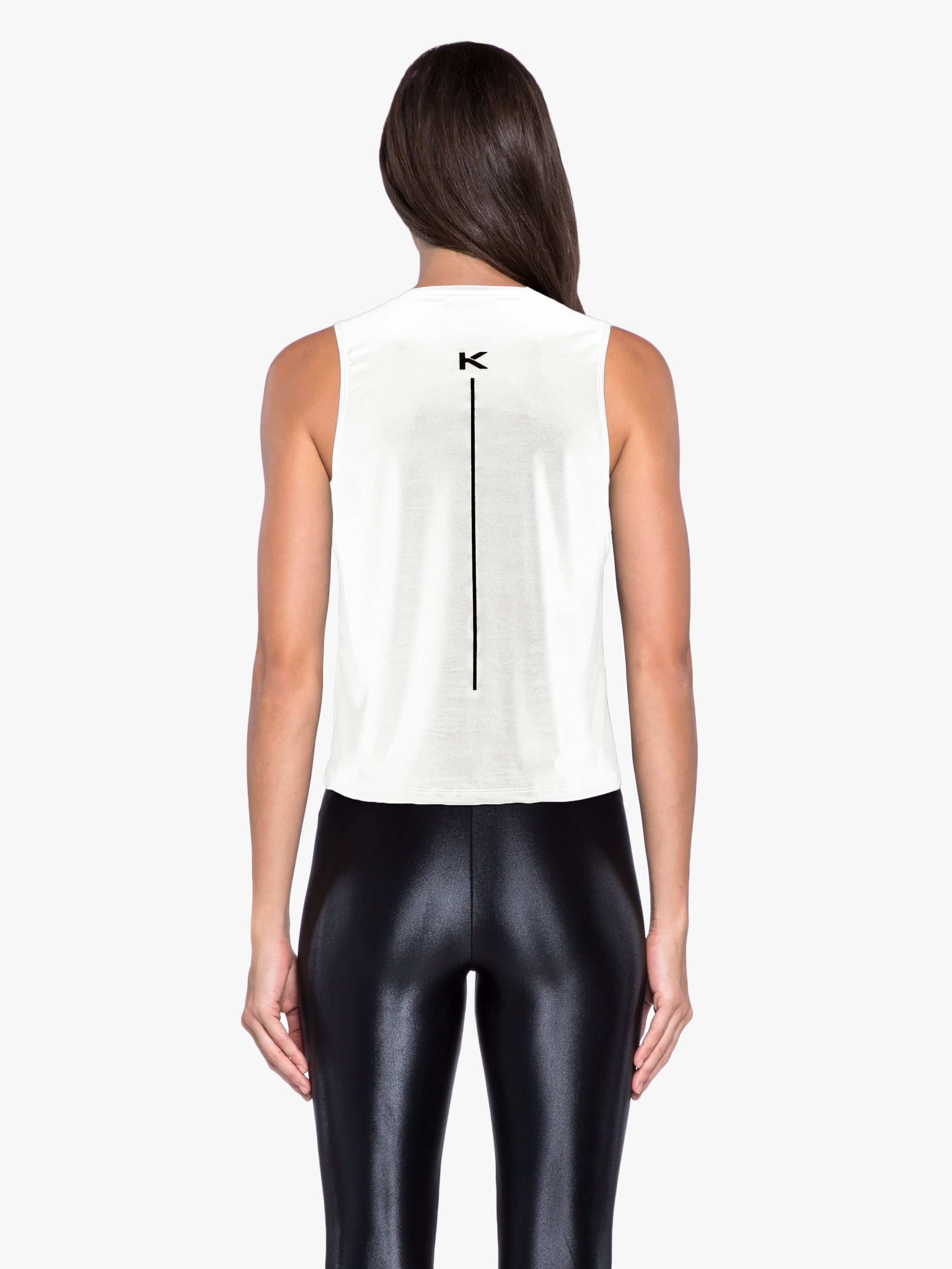 Logo Muscle Glamour Cropped Tank - White