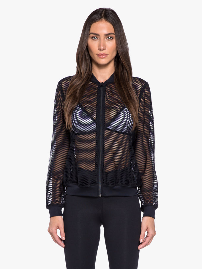 Base Open Mesh Bomber Jacket - Black