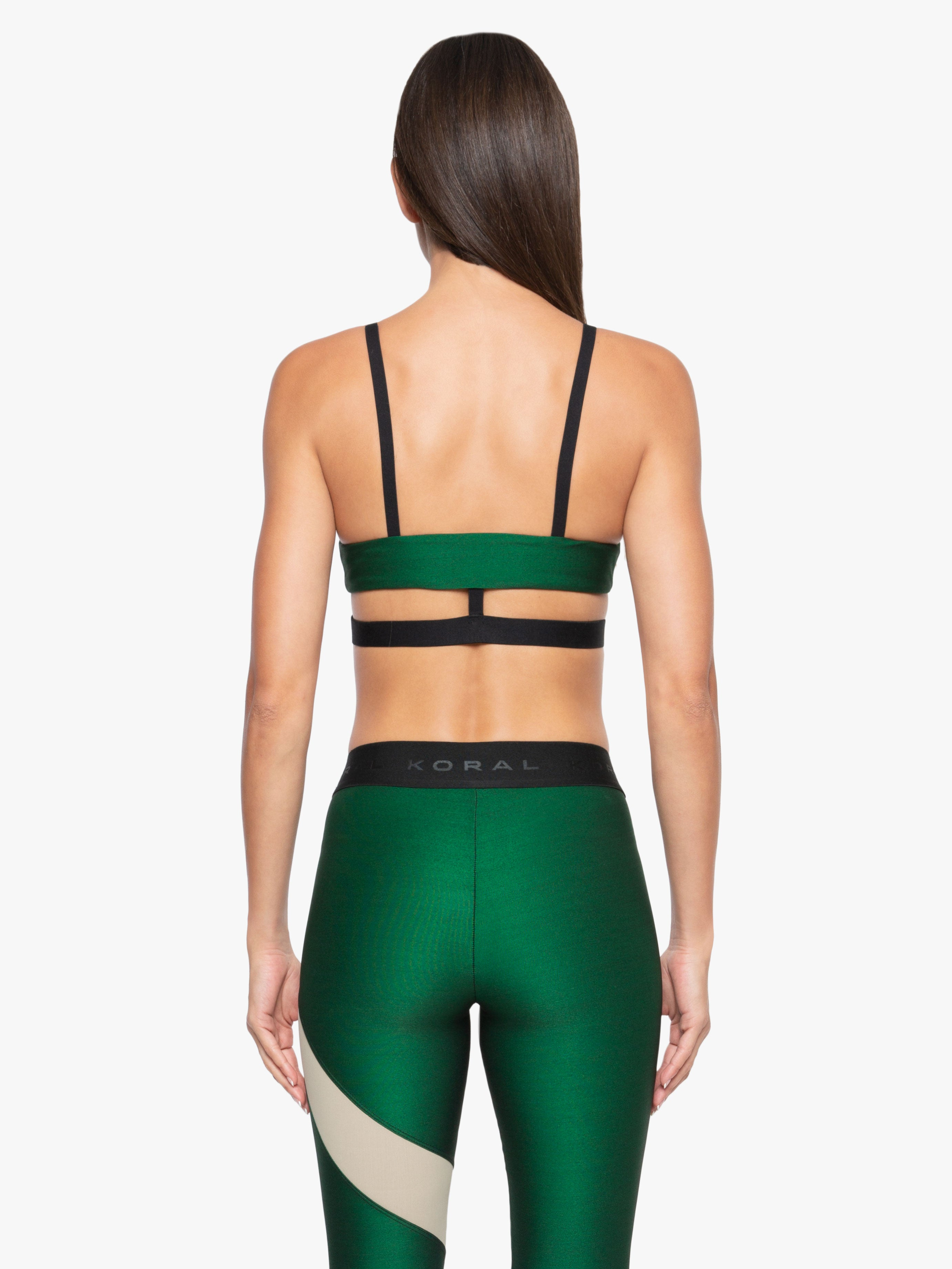 Limerence Shantung Sports Bra - Dark Green/Black/Caqui