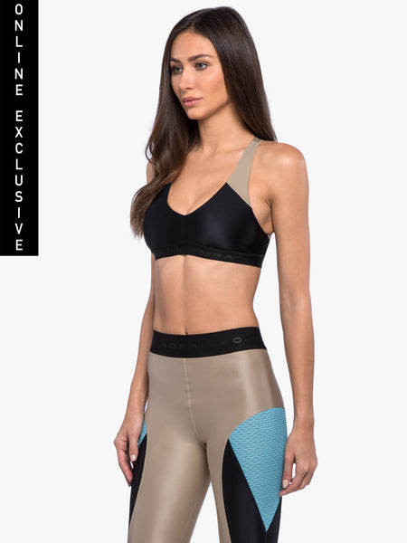 Bunji Sports Bra - Hummus/Black/Blue