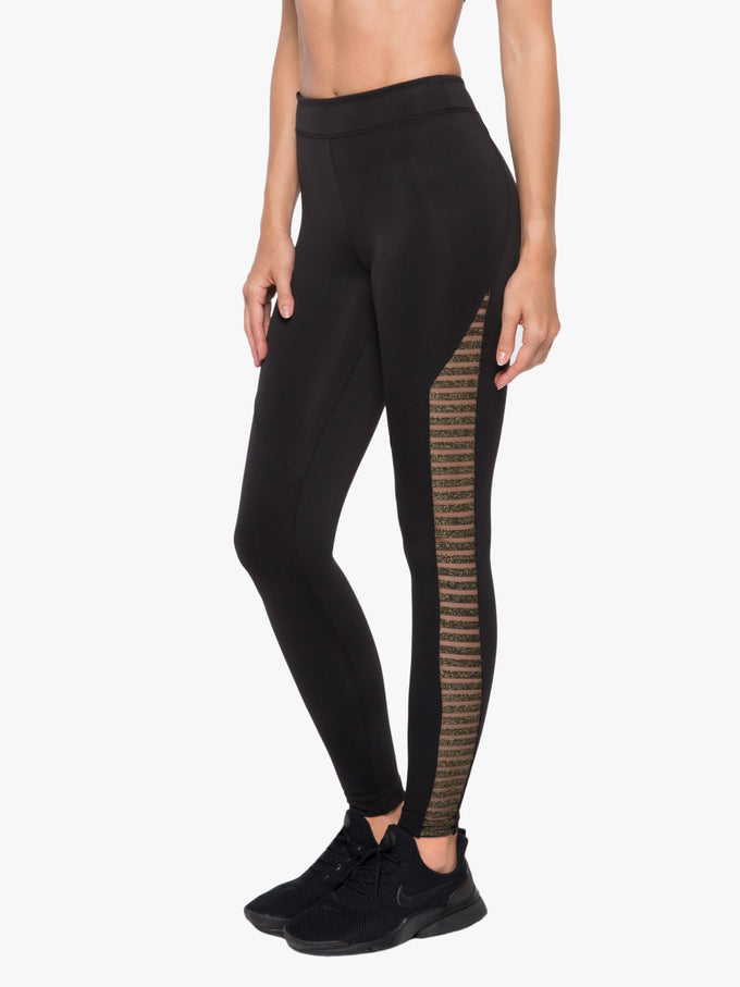 Chameleon High Rise Scuba Legging - Black/Gold