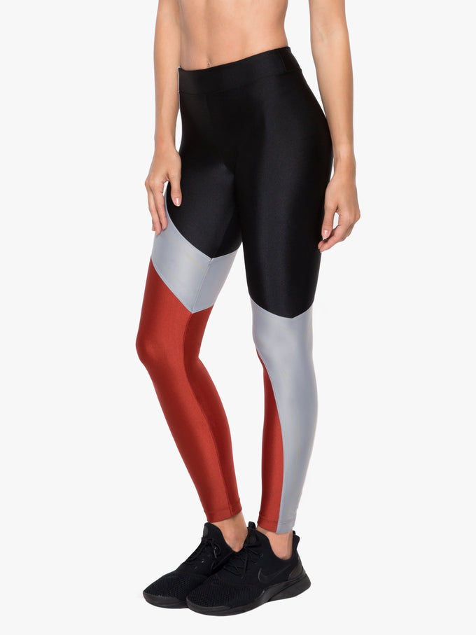 Charisma High Rise Sprint Legging - Black/Rouge/Silver