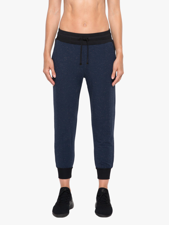Cosmic Glance Cropped Jogger - Blue Plasma