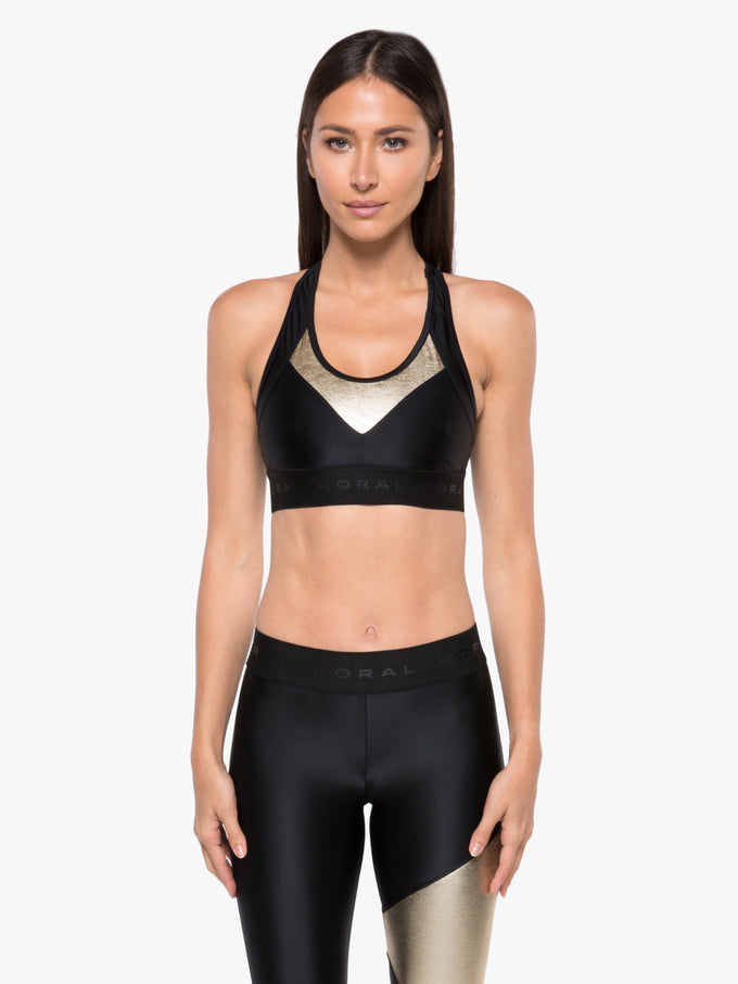 Emblem Chromoscope Sports Bra - Black/Gold