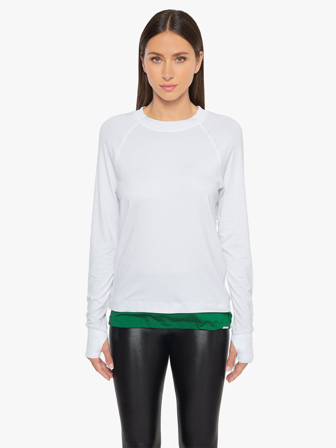 Zoe Brisa Long Sleeve Top - White/Dark Green