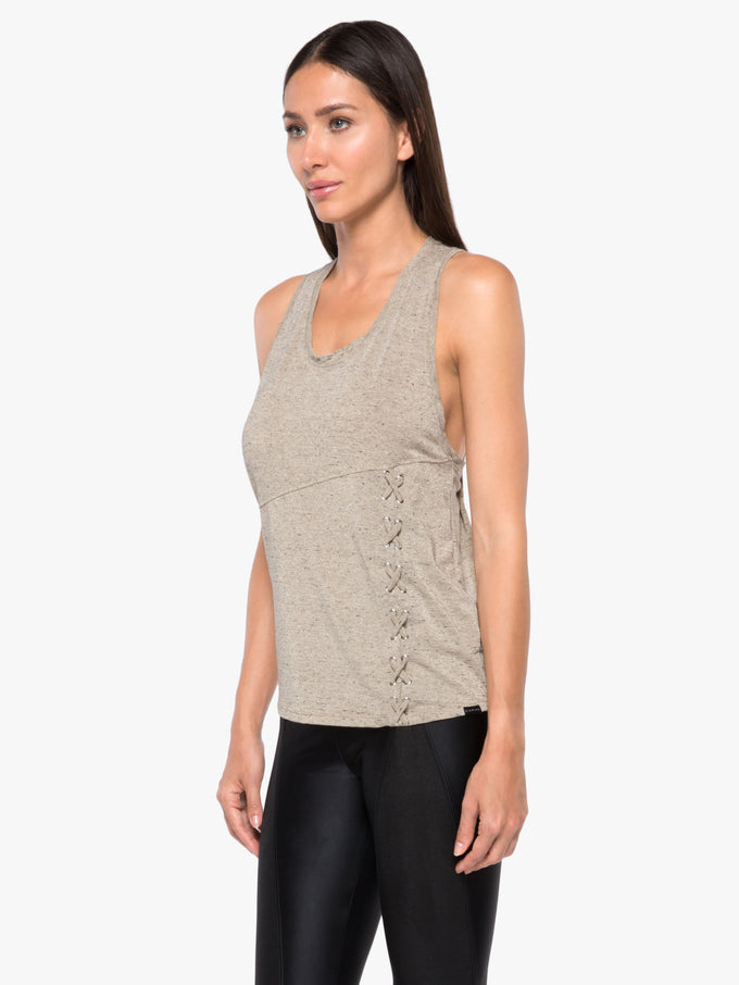 Hollow Luxe Tank Top - Gold Heather