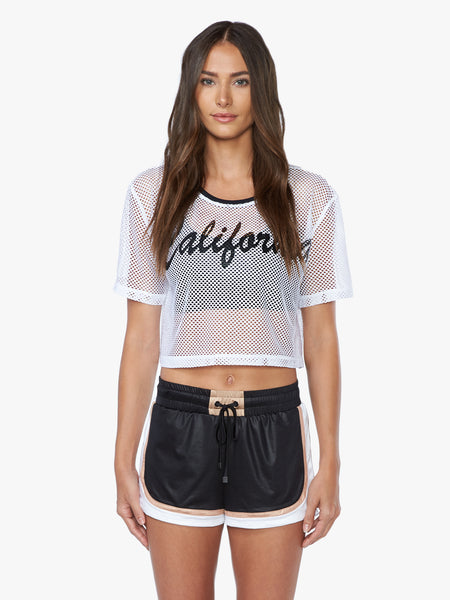 Tip Top Open Mesh Crop Top - White