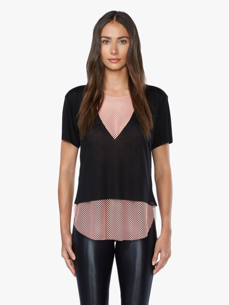 Double Layer S/S Tee Tencel Jersey  - Black/Cameo