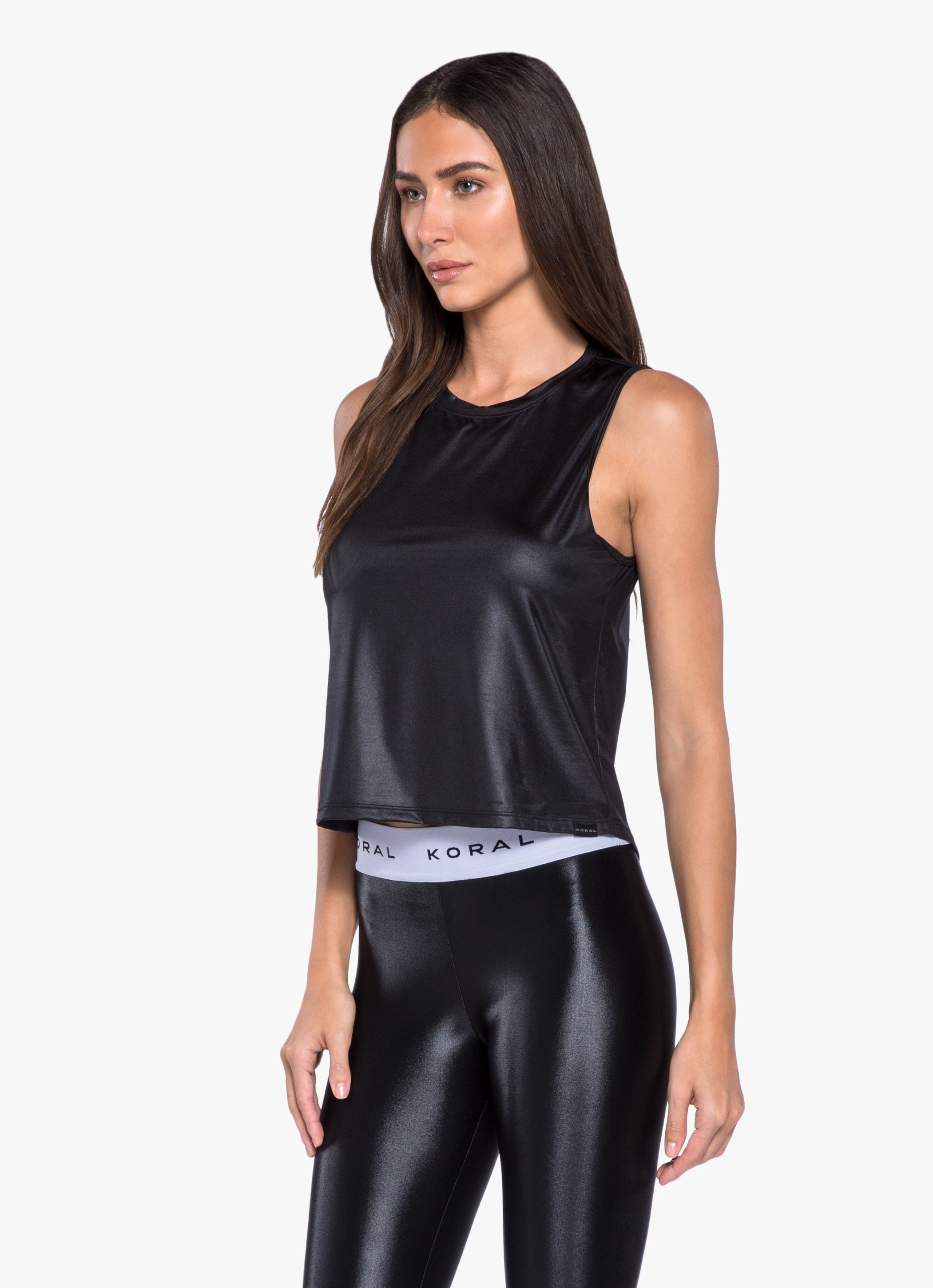 Logo Muscle Glamour Cropped Tank - Black