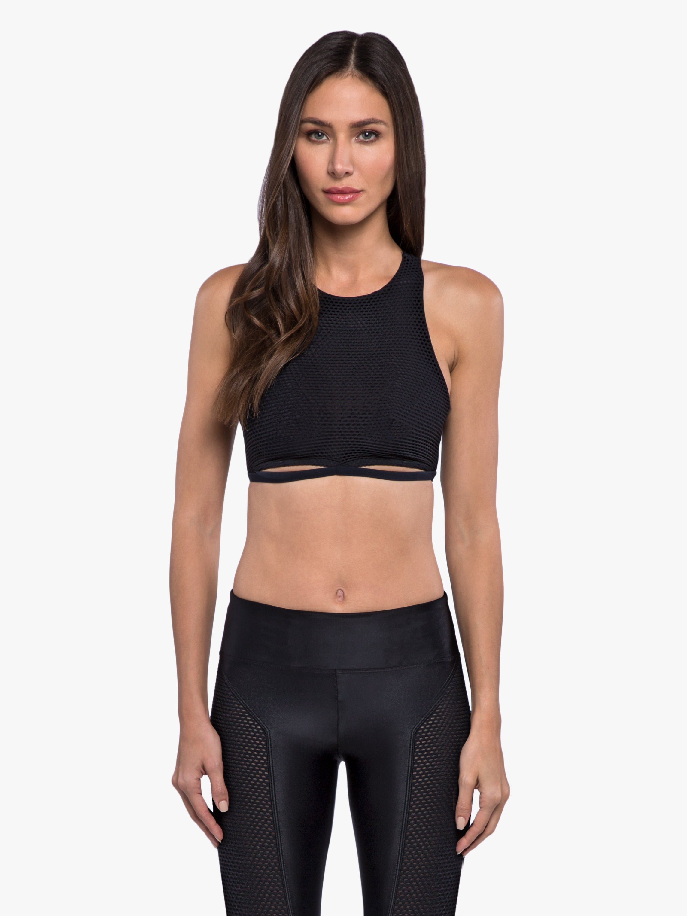 Mesmorize Open Mesh Sports Bra - Black