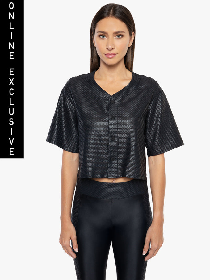 Baseball Netz Crop Jersey - Black