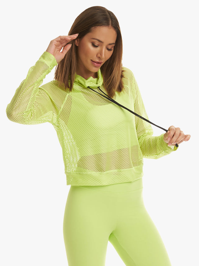 Pump Open Shiny Mesh Pullover