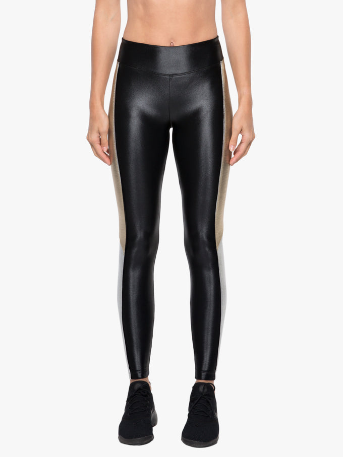 Serendipity High Rise Chromoscope Legging - Black/Gold/Silver