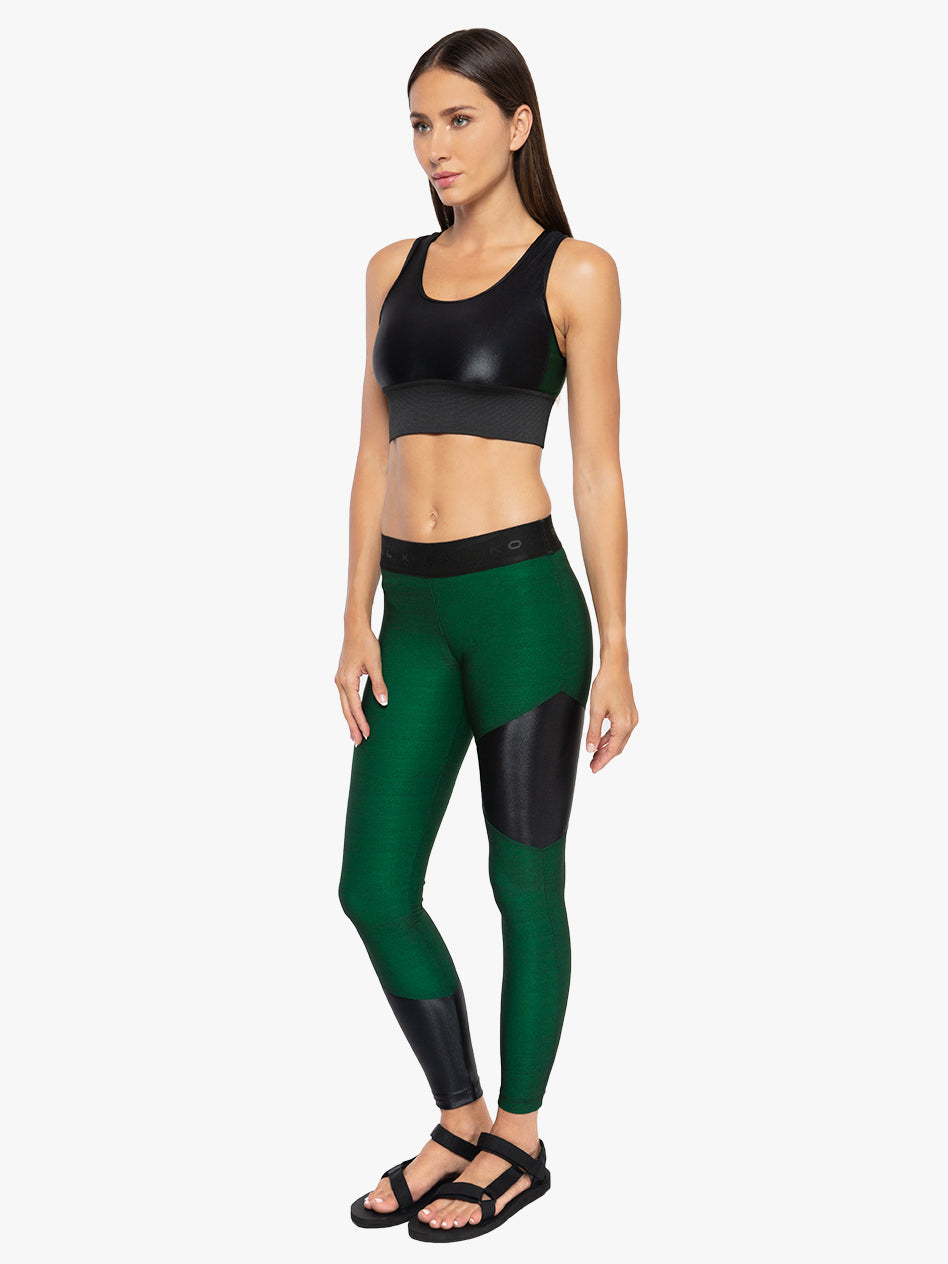Amber Shantung Legging - Dark Green/Black