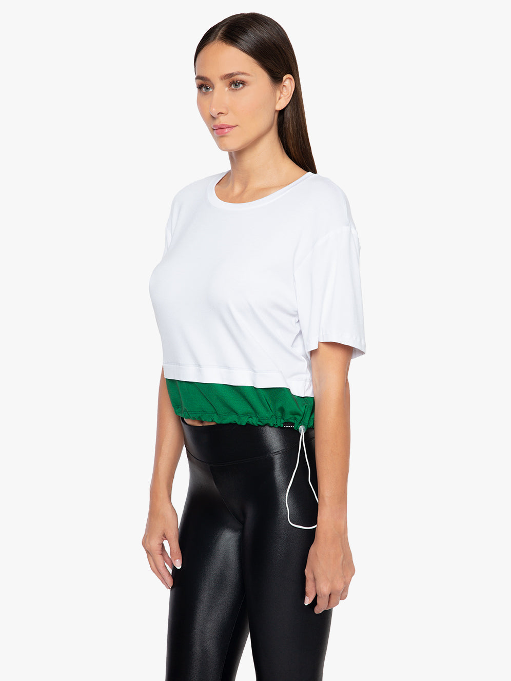 Bora Brisa Crop T-Shirt - White/Dark Green