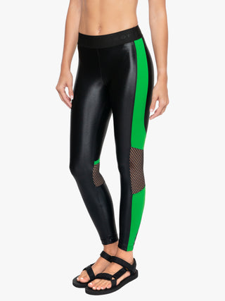Emblem Infinity High Rise Cropped Legging - Black/Verde