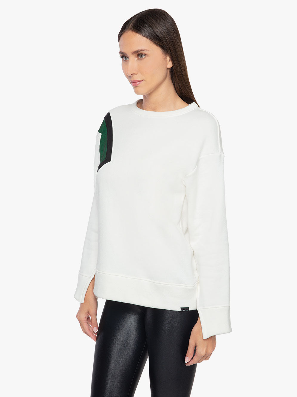 Saultry Matte Sweatshirt - White/Dark Green/Black