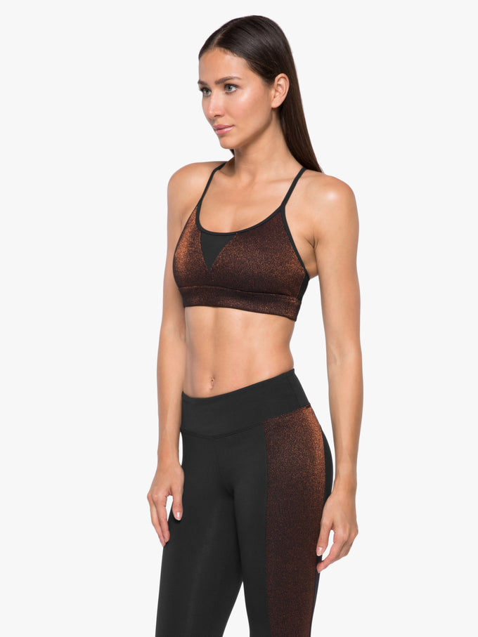 Trifecta Glow Sports Bra - Bronze Quartz/Black