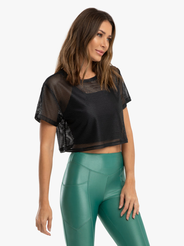 Terrain Open Mesh Crop Top - Black