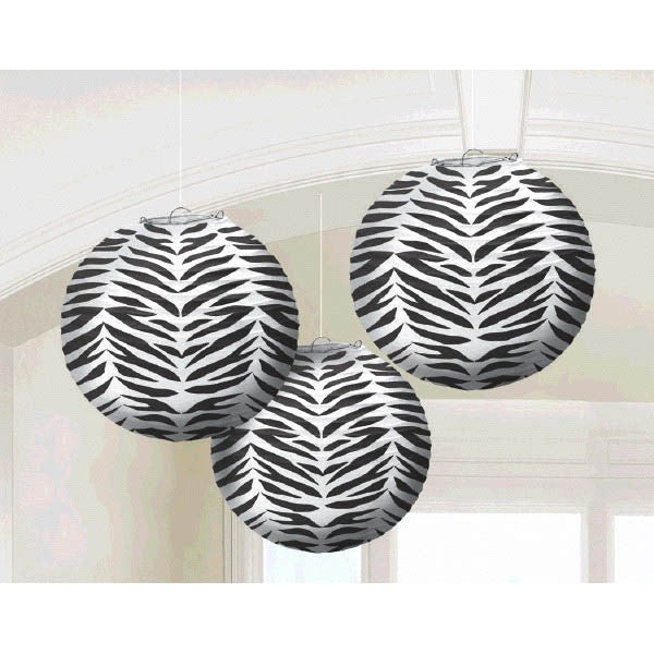 Traditional Hanging Wild Zebra Print Round Lantern Party Decoration Paper 9 Pack Of 3