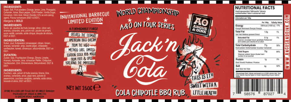 Load image into Gallery viewer, JACK & COLA BBQ RUB 200G