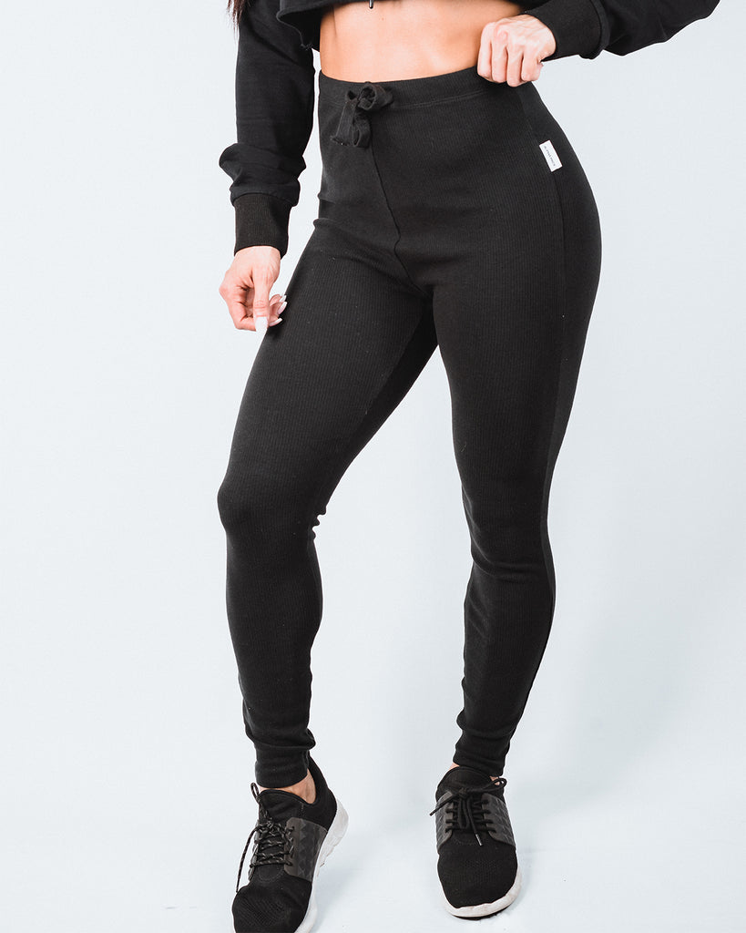 Noir Ribbed Joggers