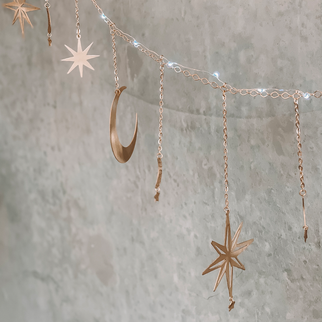 Ariana Ost | Celestial Moon and Star Garland with String Lighting