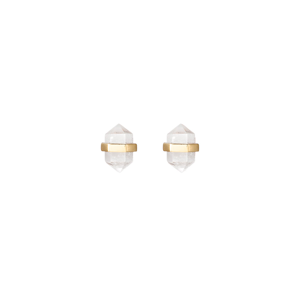 beaming crystal studs | clear quartz crystal